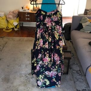 LF Millau Floral Navy High Low Dress Sz Small